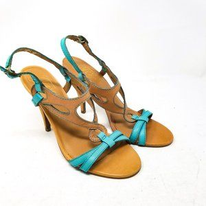 Fergie Heel 4 inch Teal Turquoise Brown Size 7
